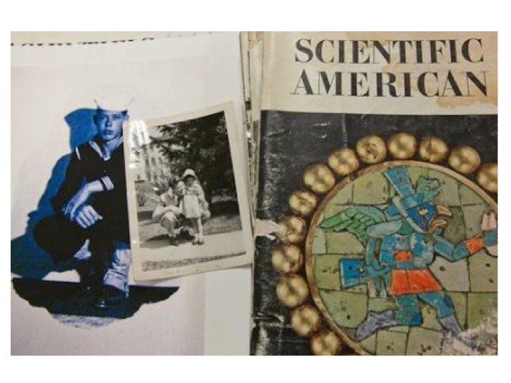 Collage: Photographs of my father in his navy uniform , a photograph of my father and I and an issue of his beloved Scientific American magazines (collage created by Susan E. Swanberg).